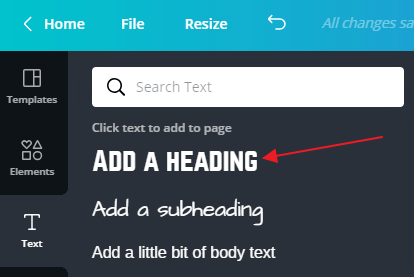 adding a heading in canva printable