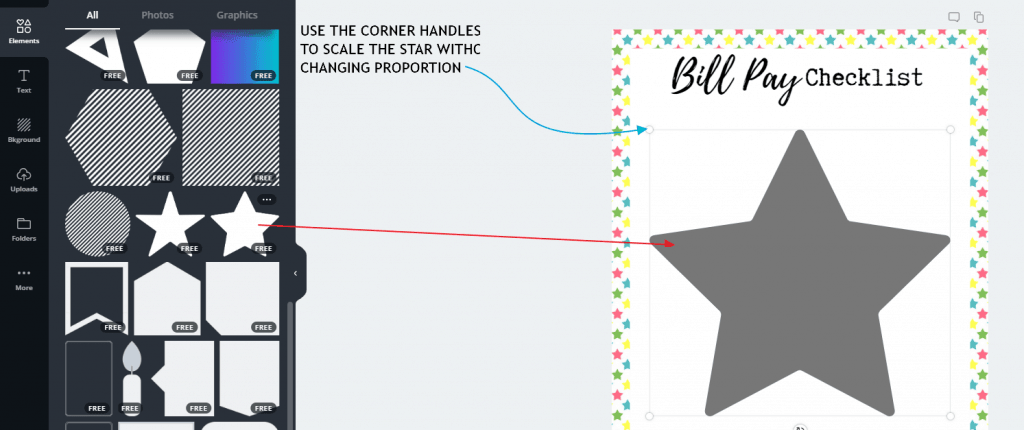 add a star to free printable and scale it