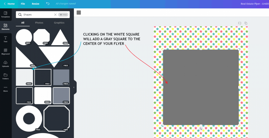 select the white square in canva.
