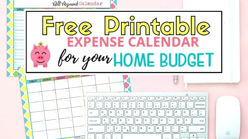 Free Printable Expense Calendar for Home Budget