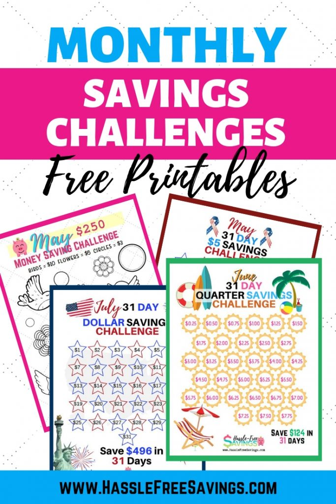 monthly savings challenge free printables
