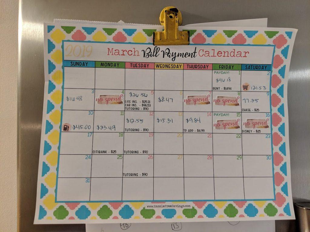 my bill pay calendar