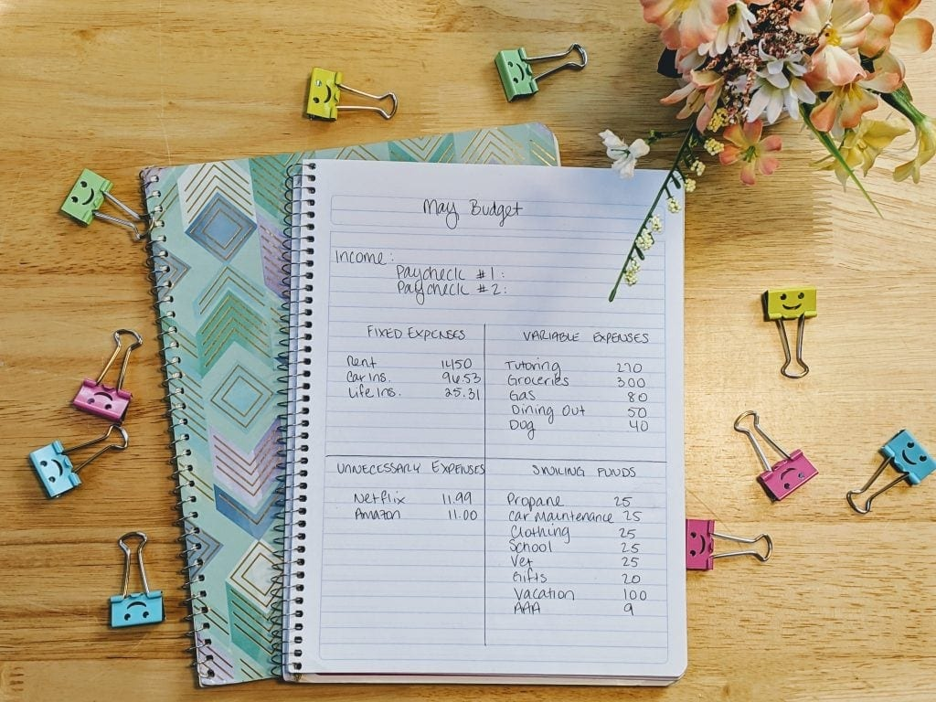 Use a spiral notebook to track household expenses.