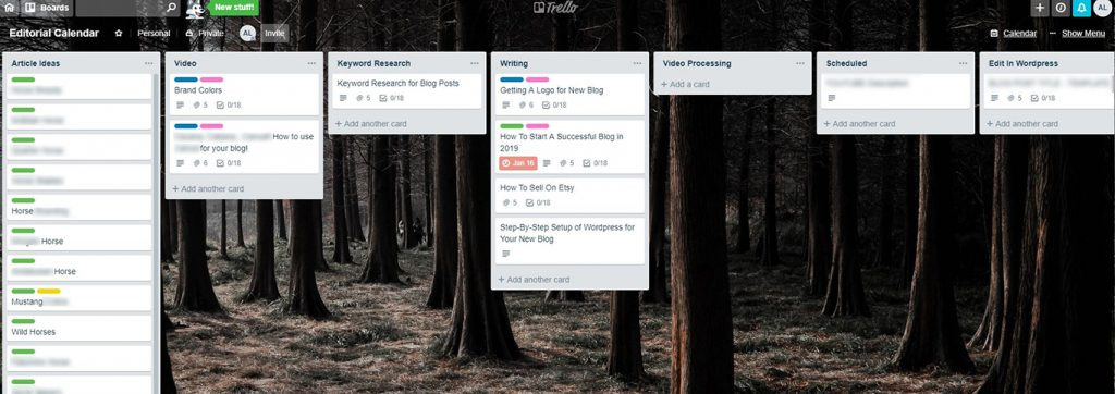 Trello Dashboard Layout for Blogging