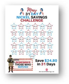 31 day nickel savings challenge