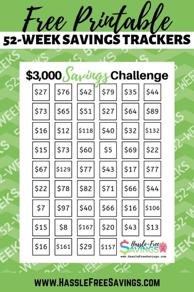 30 Day Savings Challenge Cash Envelope Challenge 52 Week Savings Challenge