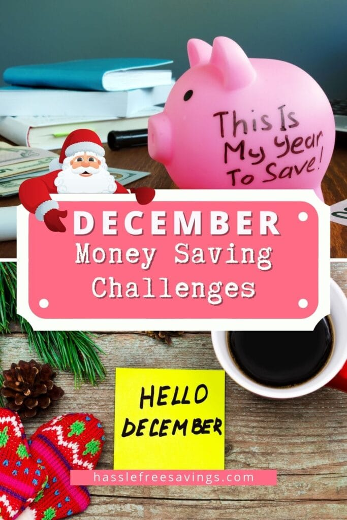 Pinterest pin - December Money Saving Challenges