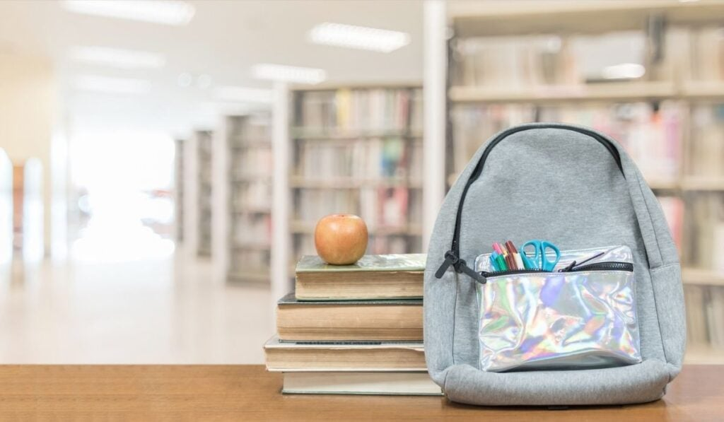 Backpack and school items