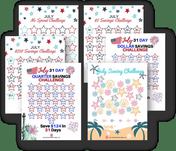 collage of july money saving printables