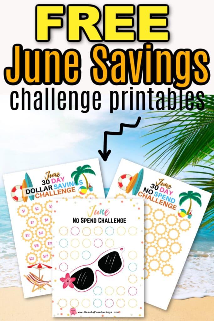 pinterest image, free printable june savings challenges