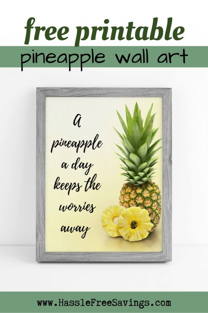 A pineapple a day keeps the worries away Pineapple Quote - Cool pineapple on a yellow background.