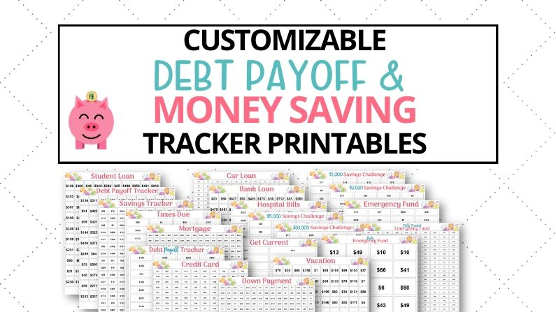 debt payoff trackers and money saving challenge printables