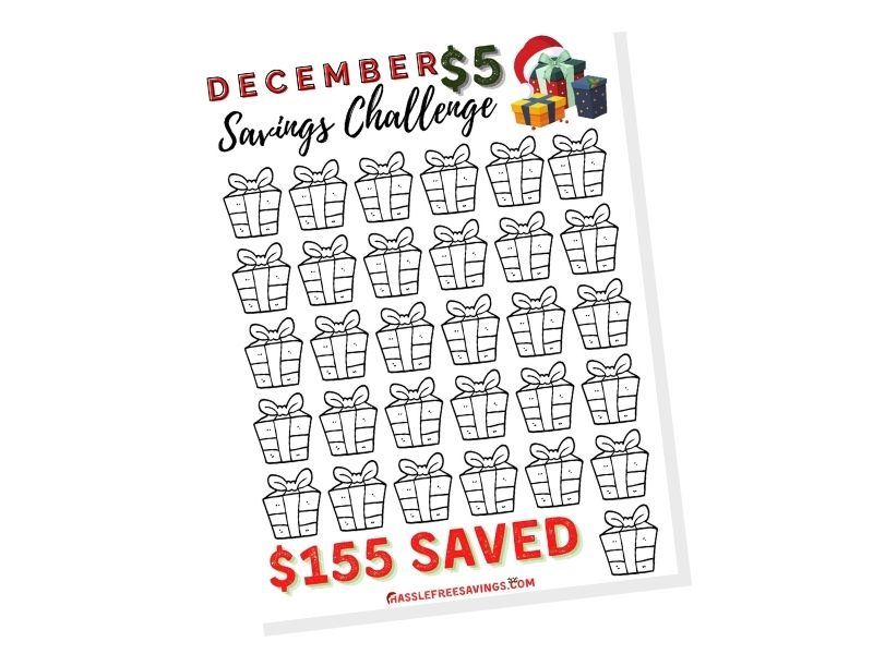 december $5 saving challenge printable