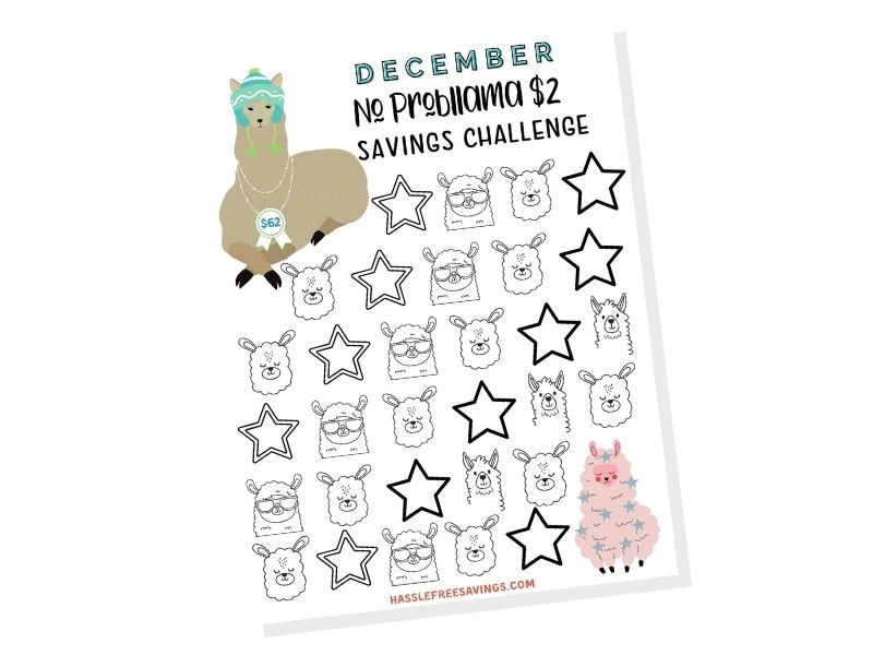 december $2 saving challenge printable
