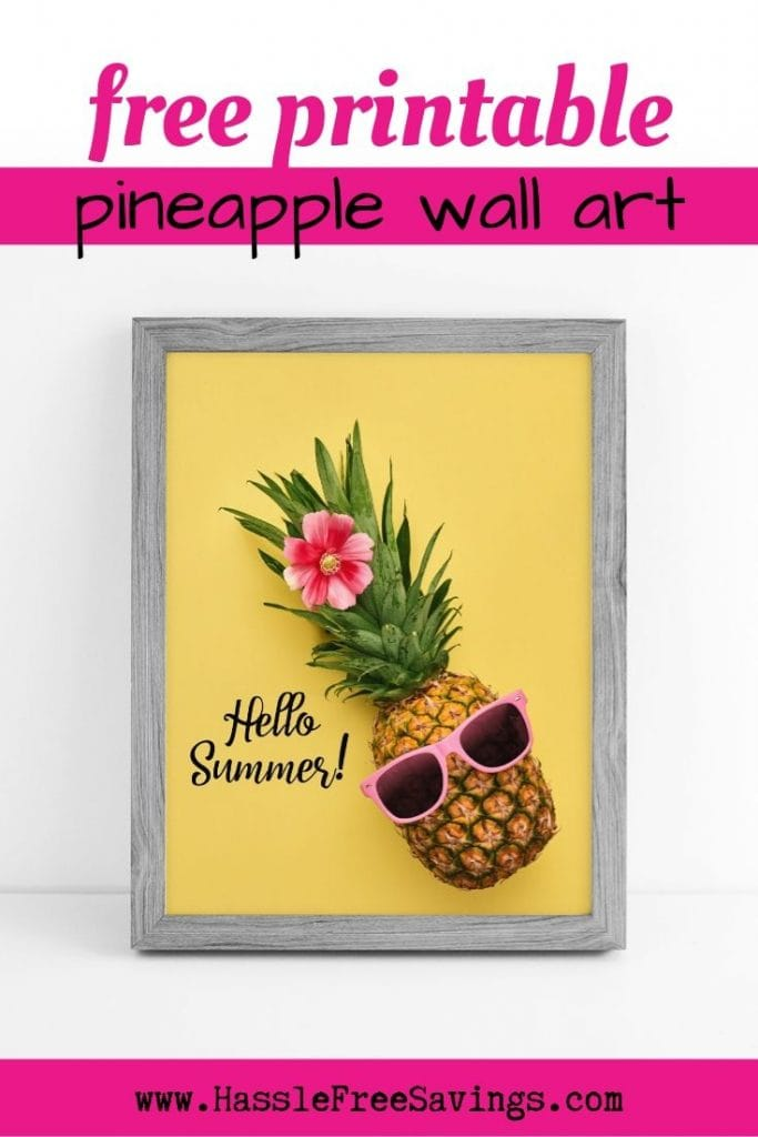 "Cool Looking Pineapple laying on a bold yellow background. Pineapple with flower and sunglasses. Quote says ""Hello Summer"""