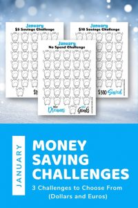 3 january money saving challenges printables on a white snowy background. Pinnable image for Pinterest.