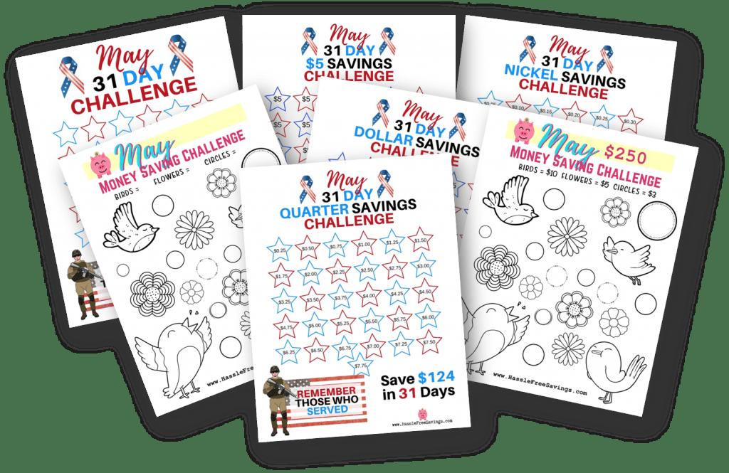 may budgeting challenge printables