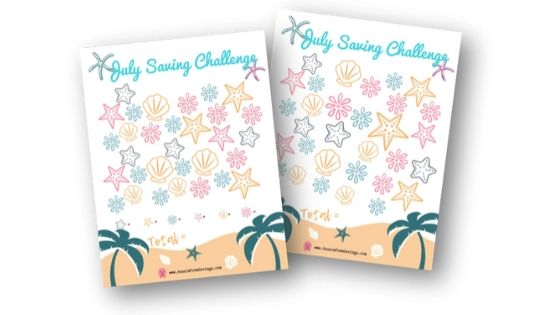 Saving Money Challenge Printable SeaShells