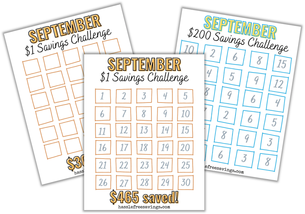 preview of september 30-day money saving challenge printable .pdf