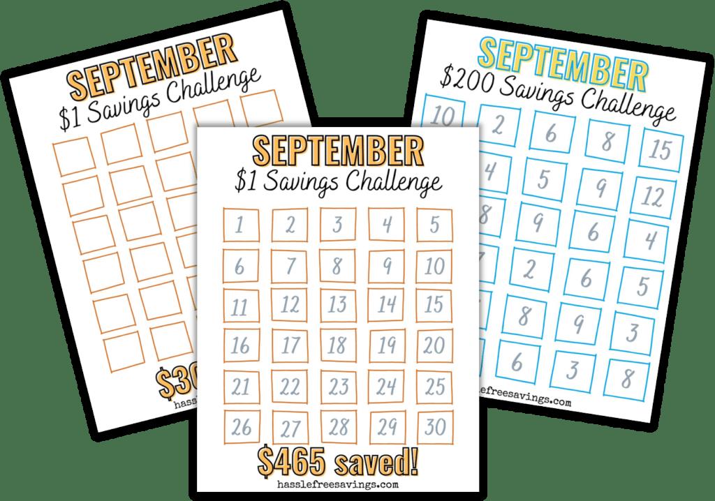 preview of september 30-day money saving challenge printable .pdf